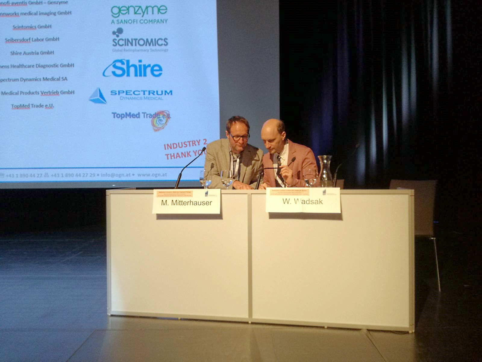 "Markus Mitterhauser and Wolfgang Wadsak chairing the session ""What's up sugar?!!"